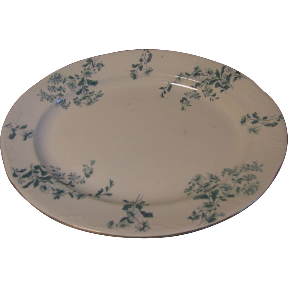 Large Green Transfer Printed Platter, CASTELAR