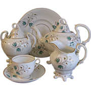 Early 1800's English Tea Set, Sprig Decoration
