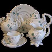 Early 1800's English Tea Set, Sprig Decoration