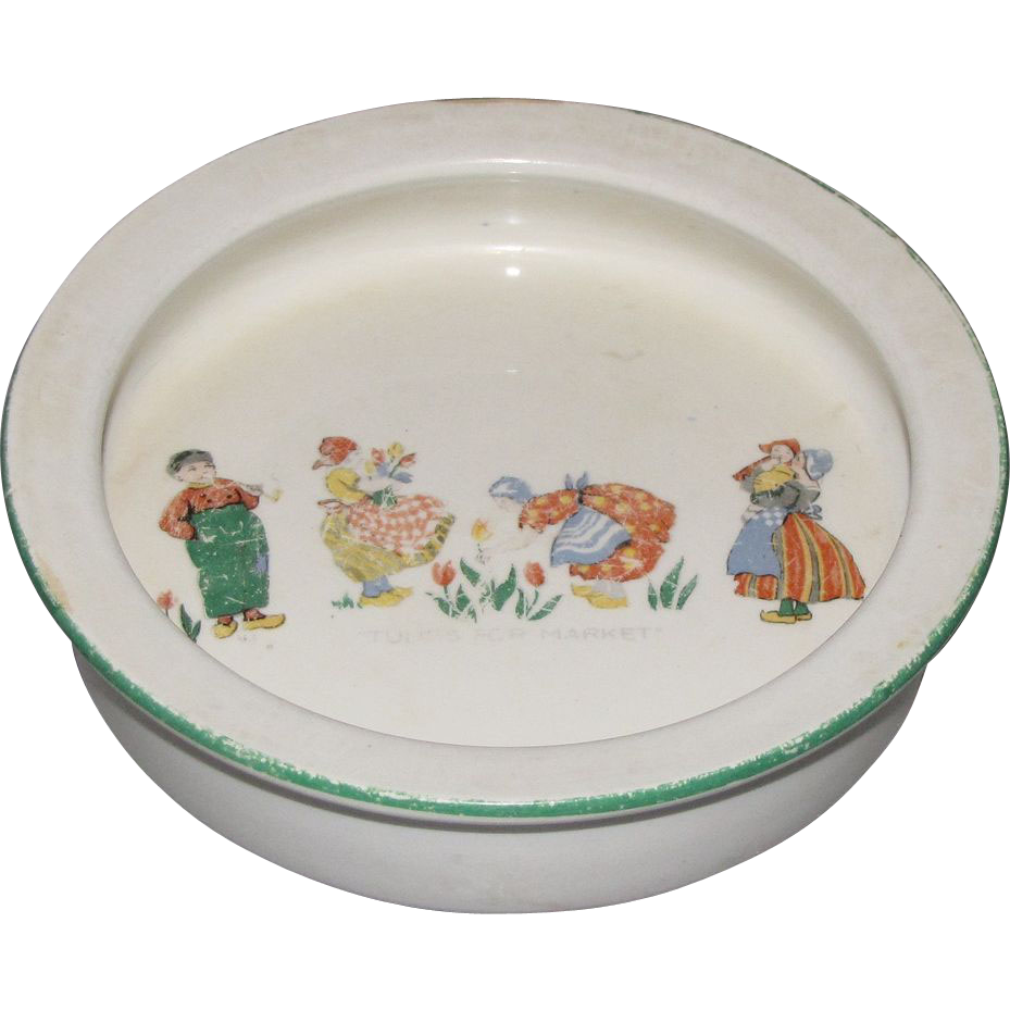 "Vintage Baby Dish, ""Tulips for Market"", England"