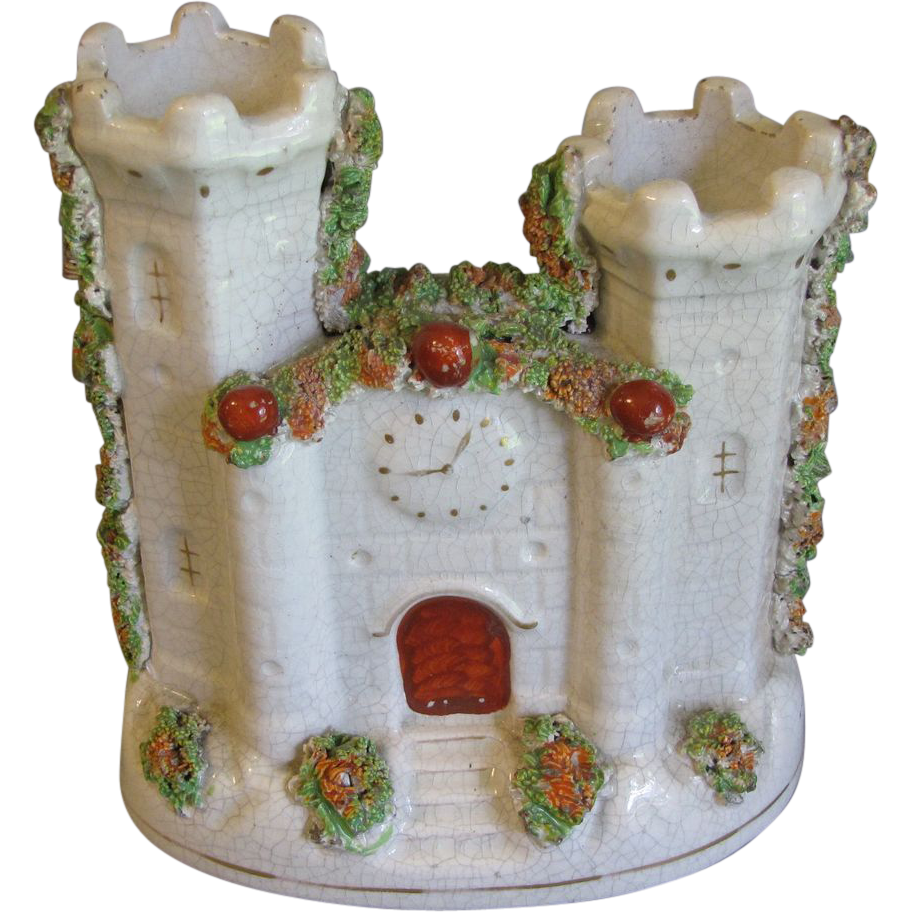 Early Flatback Staffordshire Figurine, Castle, Pastille Burner