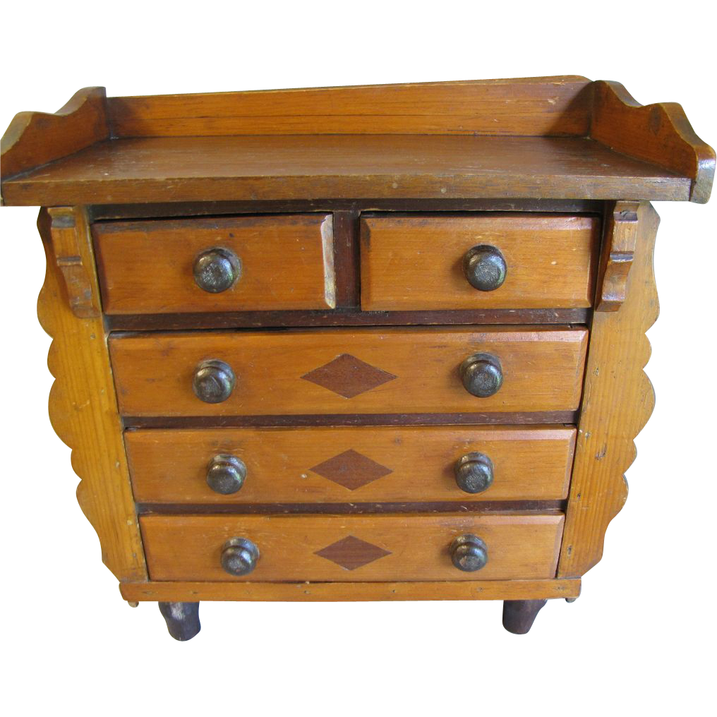 Antique Folk Art Wood Collector's Cabinet, Chest
