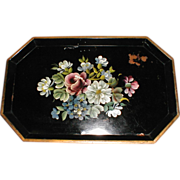 Vintage Heavy Small Floral Tole Tray