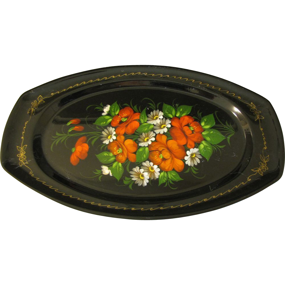Lovely Colorful Vintage Russian Tole Tray, Floral