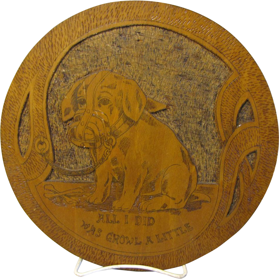 Vintage Oval Flemish Art Wall Plaque, Muzzled Puppy