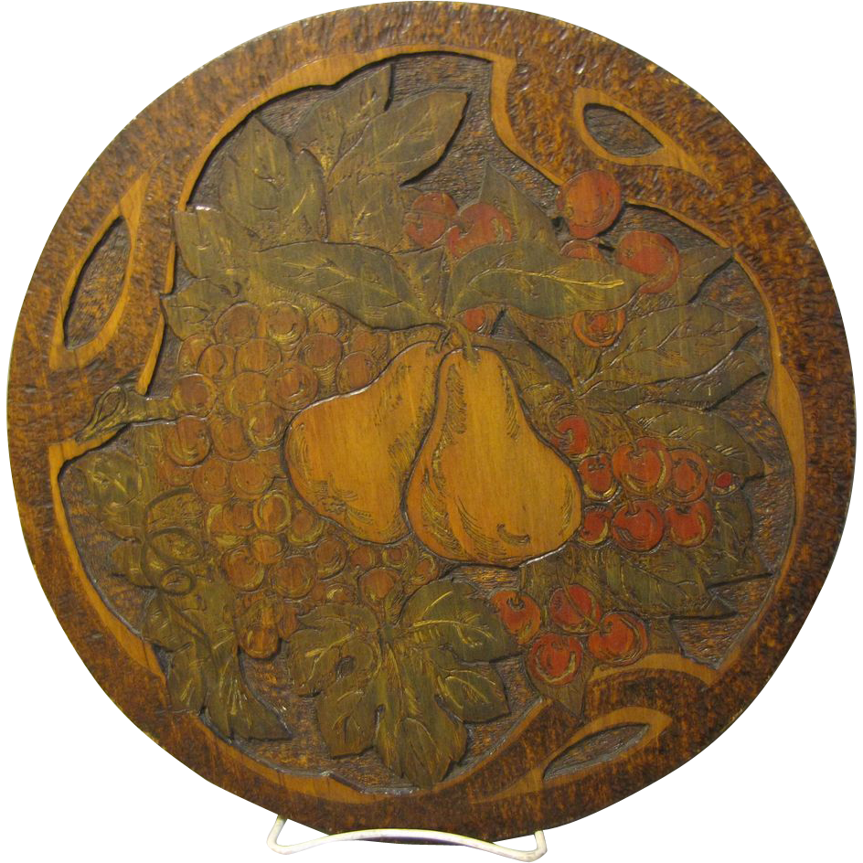 Painted, Carved, and Burned Flemish Art Plaque, Fruit