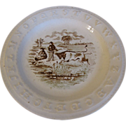 Brown Transferware ABC Plate, 1860's, Charles Allerton