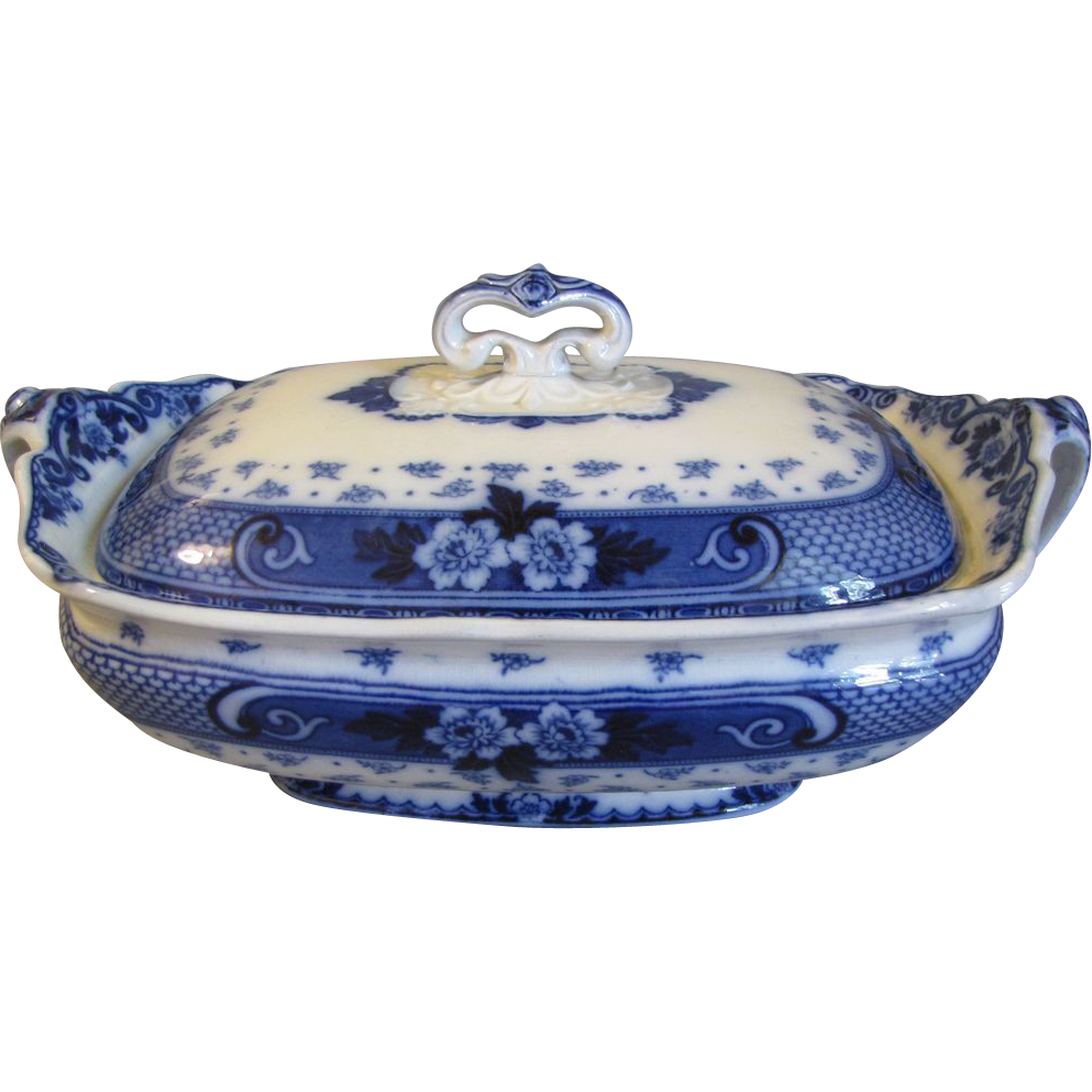 Lovely Flow Blue Vegetable Bowl w/Lid, WEIR, F & Sons