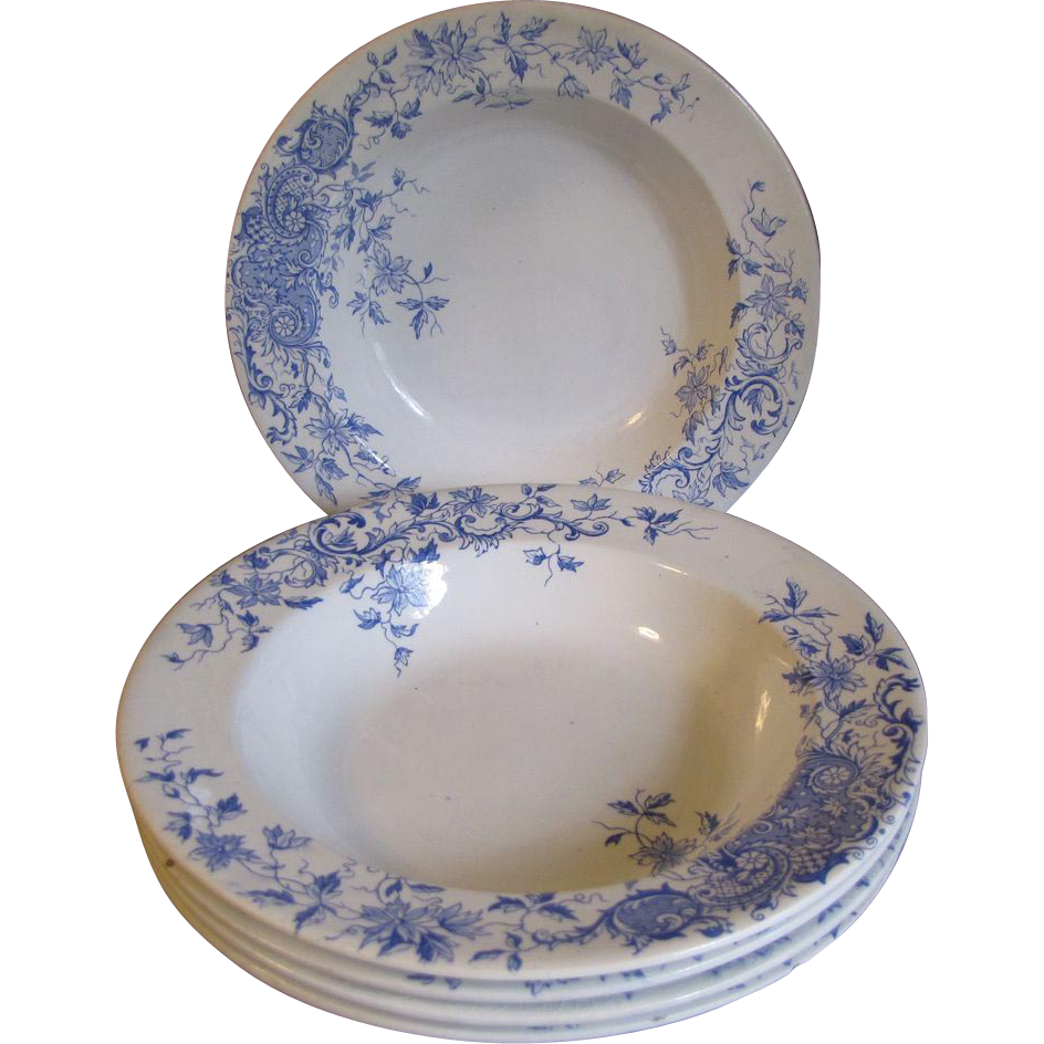 Set of 5 Soup Plates, Blue Transferware, CLEMATIS