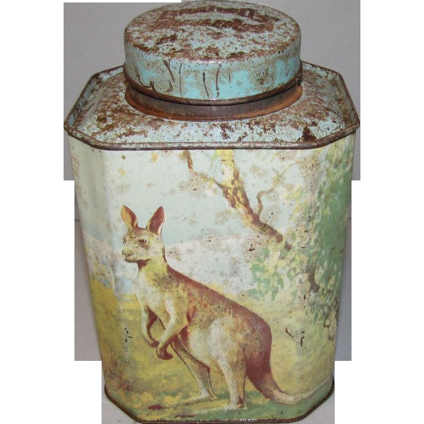Vintage Bushnell's Tea Tin, Kangaroo, Koala, Emu, Kookaburra