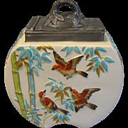 Copeland 19th Century Majolica Biscuit Jar w/Pewter Lid