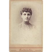 Cabinet Photograph Card of Young Woman, Frederichs