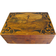 Antique Walnut Box, Vintage Wood-Burned Modification