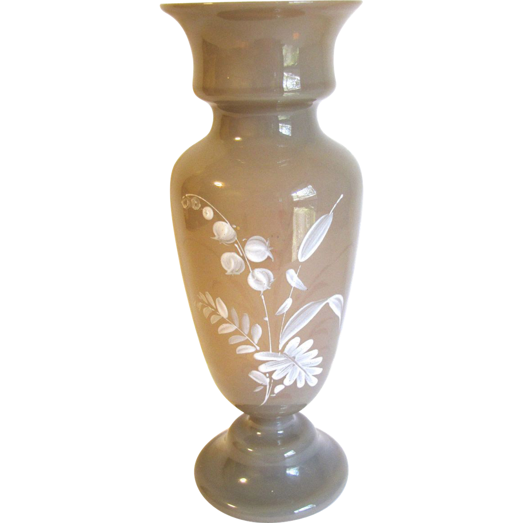 Lovely Bristol Glass Vase, Clam Broth, White Enamel