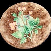 Large Antique Majolica Plate, Basketweave & Blackberry
