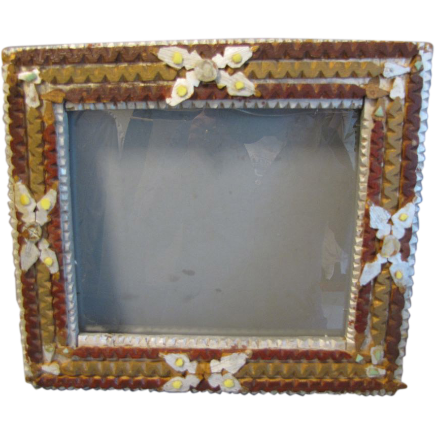 Unusual Antique Tramp Art Frame, Painted