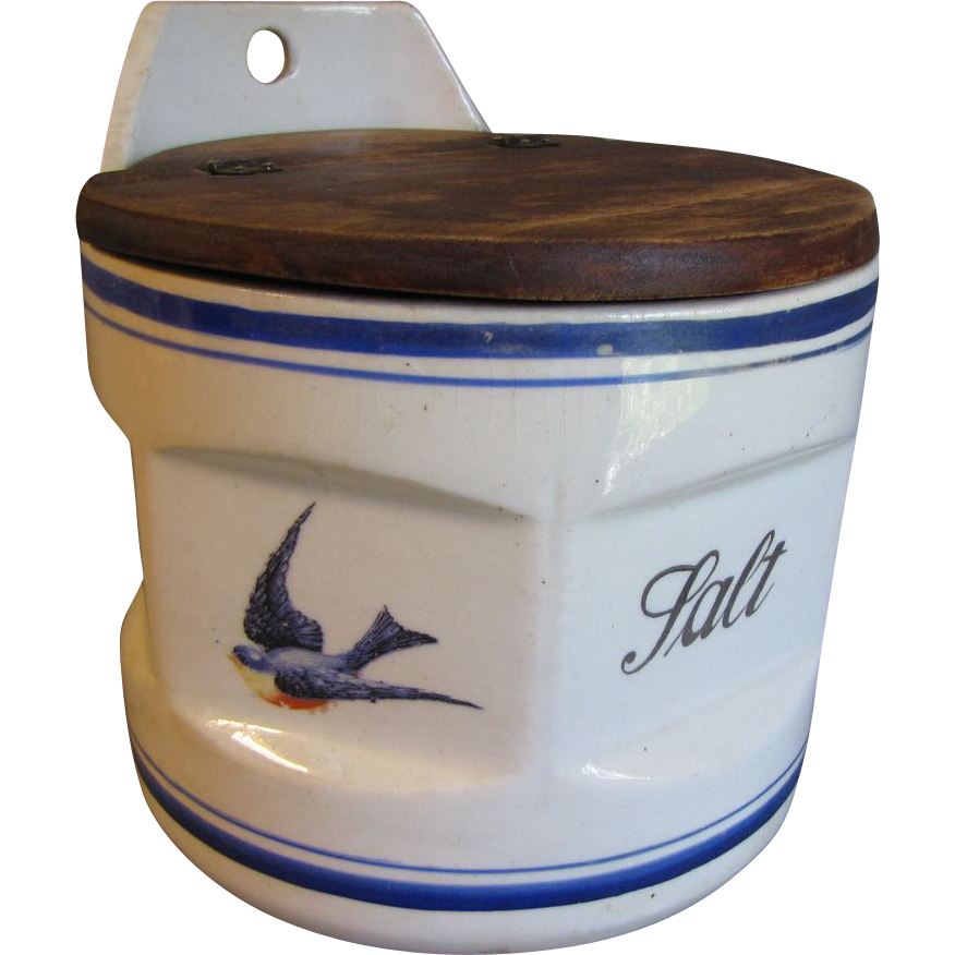 Lovely Vintage Round Blue Bird Salt Box (Canister)