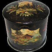 Lovely Antique Papier Mache Powder Box, Aesthetic Design
