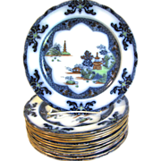 Polychrome Flow Blue Dinner Plate, LANDSCAPE