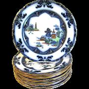 Polychrome Flow Blue Dinner Plate, LANDSCAPE