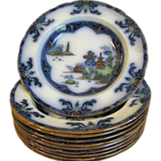 Lovely Flow Blue PolyChrome Soup Plate, LANDSCAPE