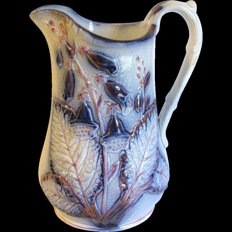 Lovely Antique Salt-Glazed Milk Pitcher, Flow Blue & Pink Lustre