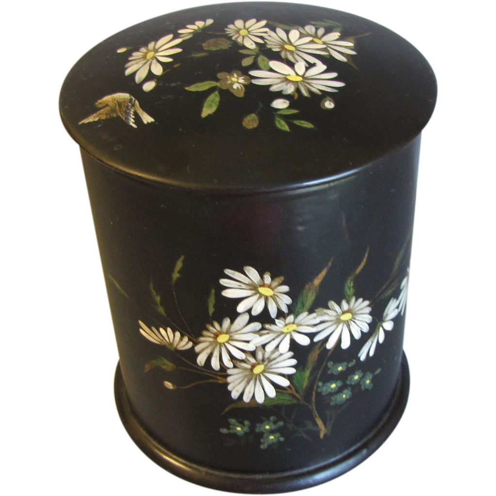 Tall Black Papier Mache Powder Box, Daisies, Bird, & Butterflies