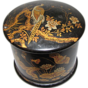 Victorian Papier Mache Powder Box, Oriental Birds