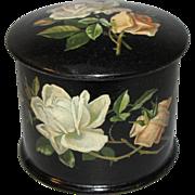 Lovely Victorian Papier Mache Powder Box, Roses