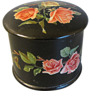 Victorian Papier Mache Powder Box w/ Pink Roses