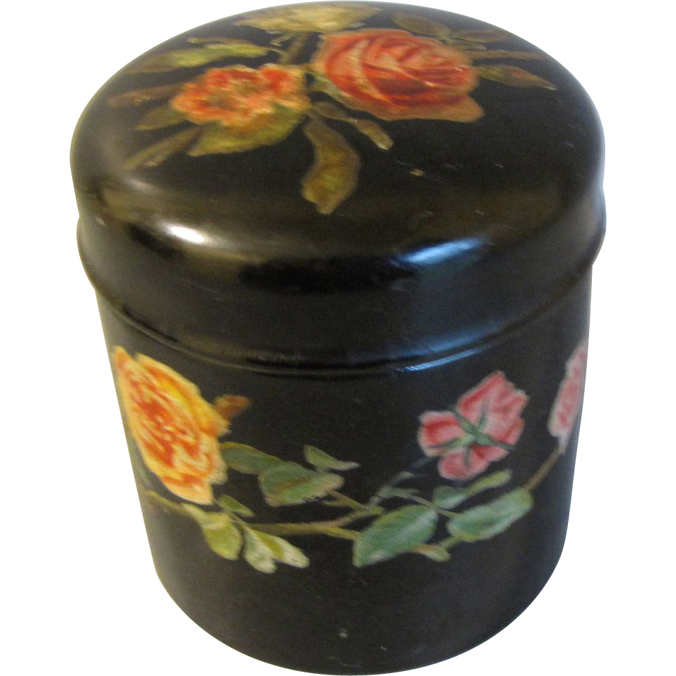 Victorian Papier Mache Powder Box w/ Roses