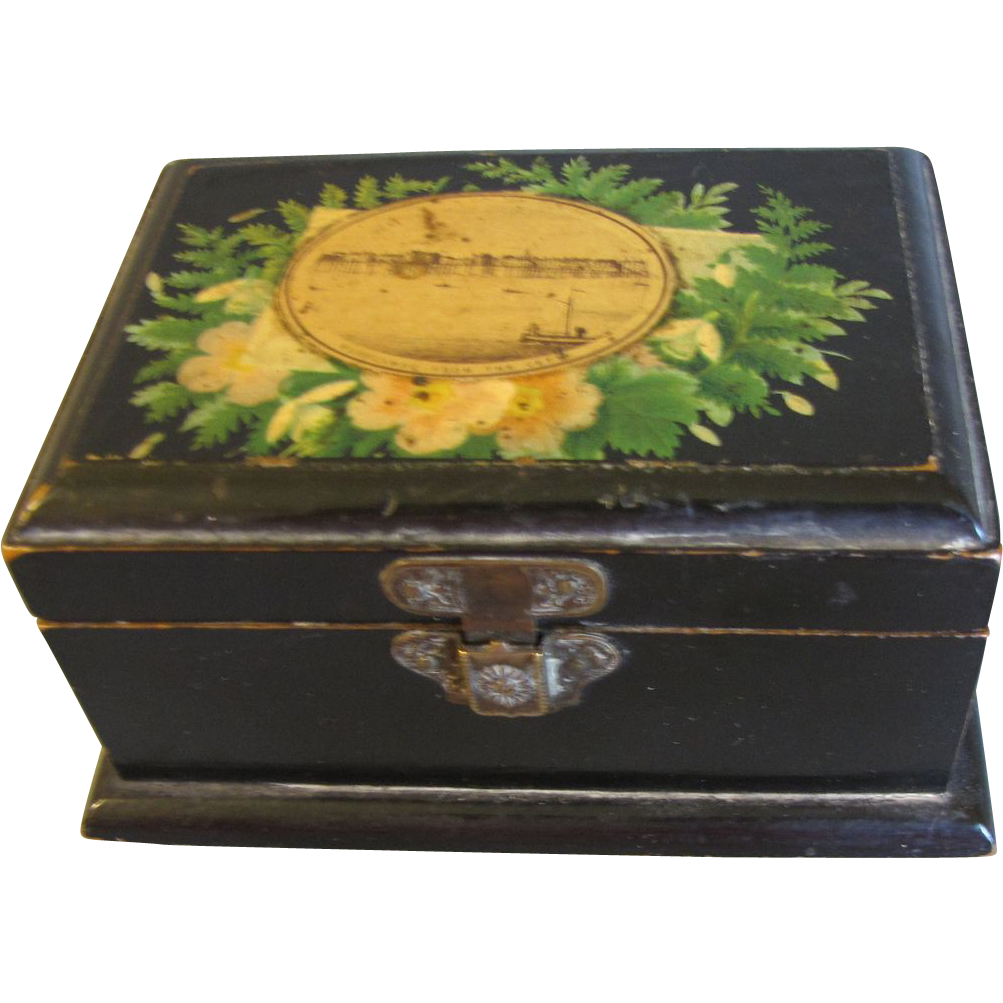 Lovely Black Victorian Mauchlin Ware Box, Morecambe