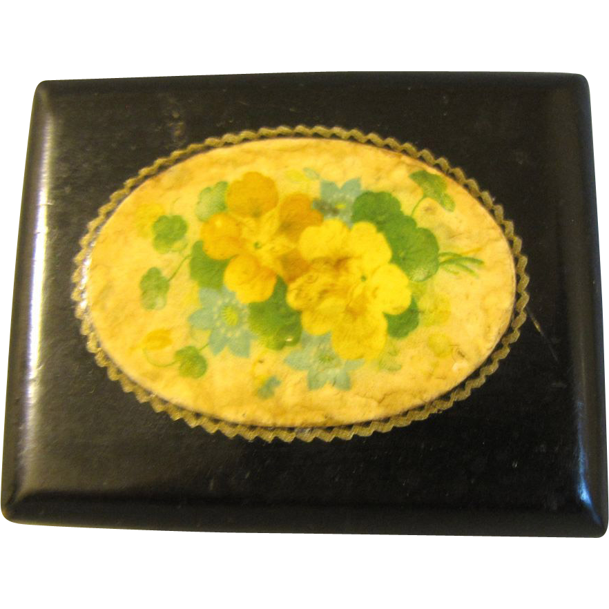Tiny Black Lacquer Victorian Box, Floral Design