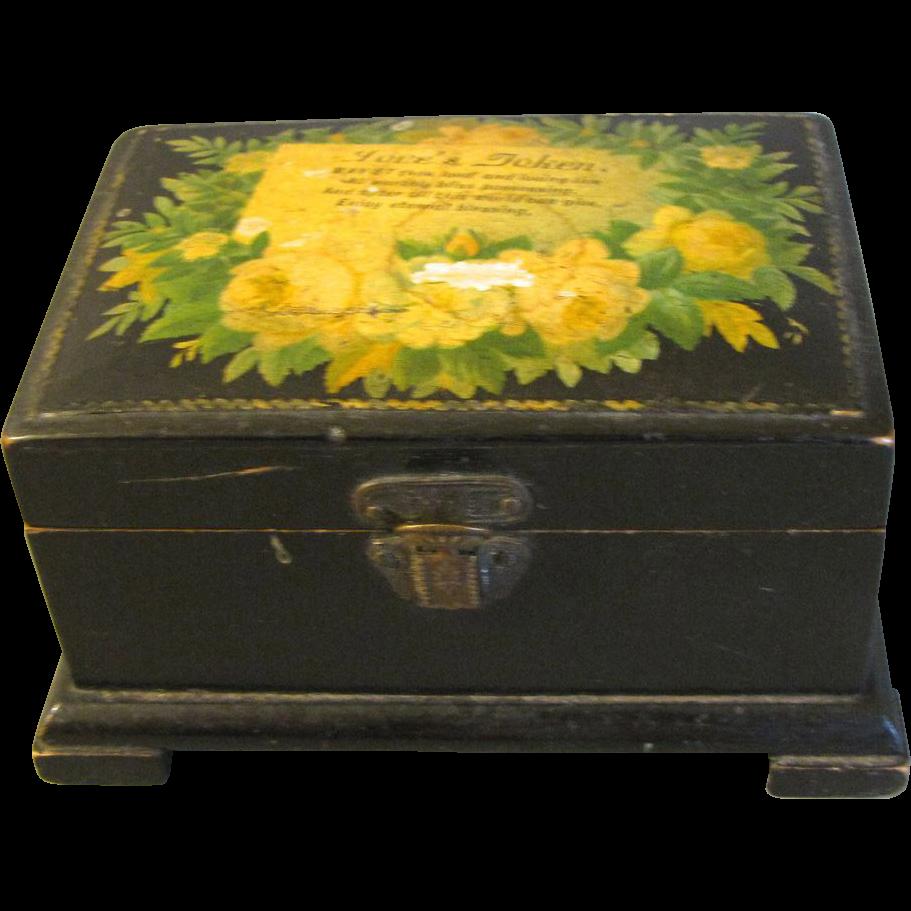 """Small Black Mauchlin Ware Box, """"Love's Token"""""""
