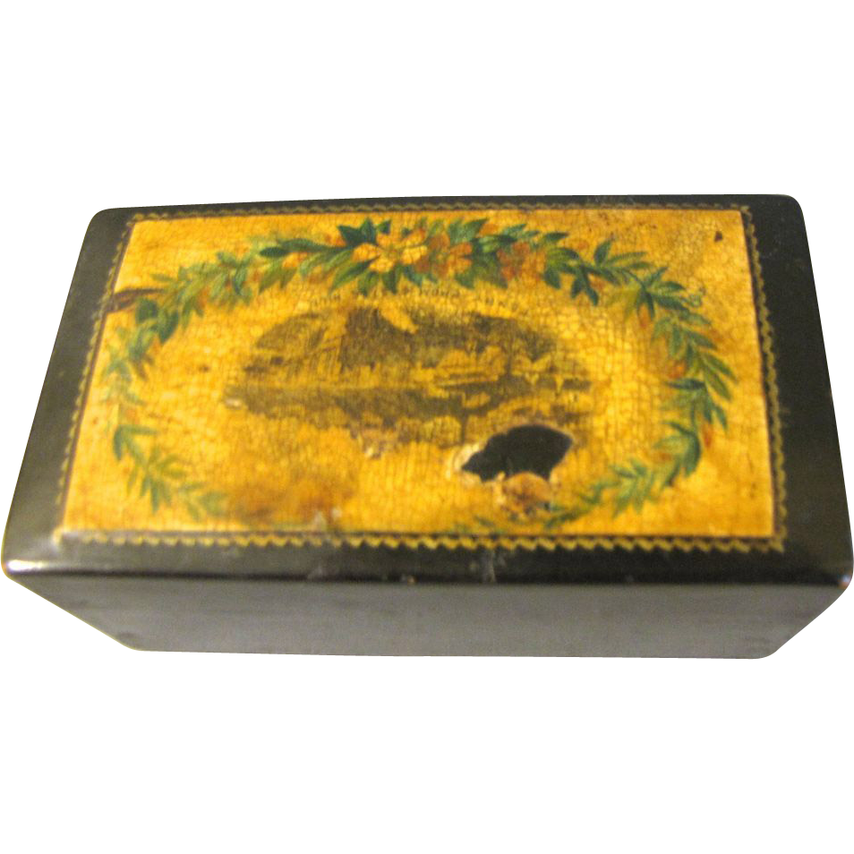 Small Mauchlin Ware Box, Tenby From Castle Hill