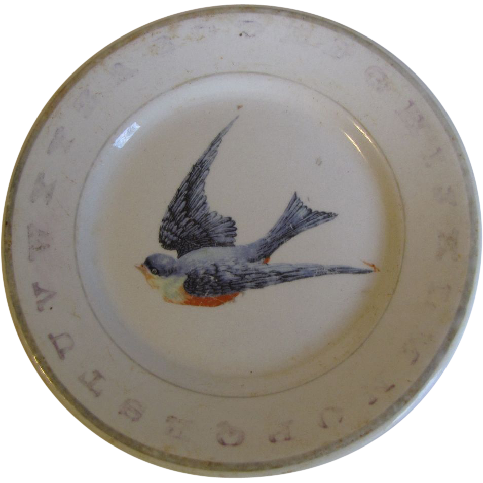 Vintage ABC Bluebird Child's Plate Hotel