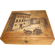 Vintage large square box with printed lid