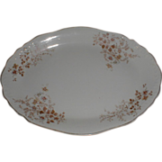 Lovely White Ironstone Platter, Brown Transfer Printed Design