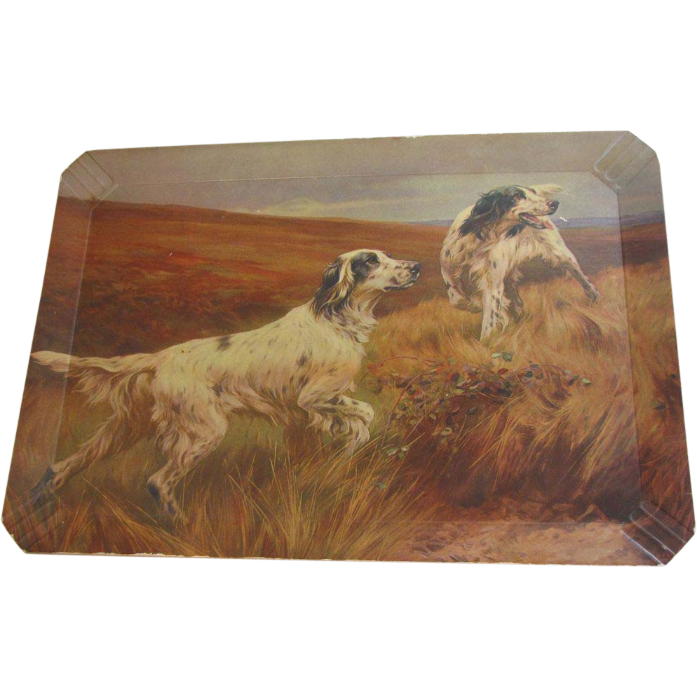 Vintage Coronet Haskelite Tray, Hunting Dogs