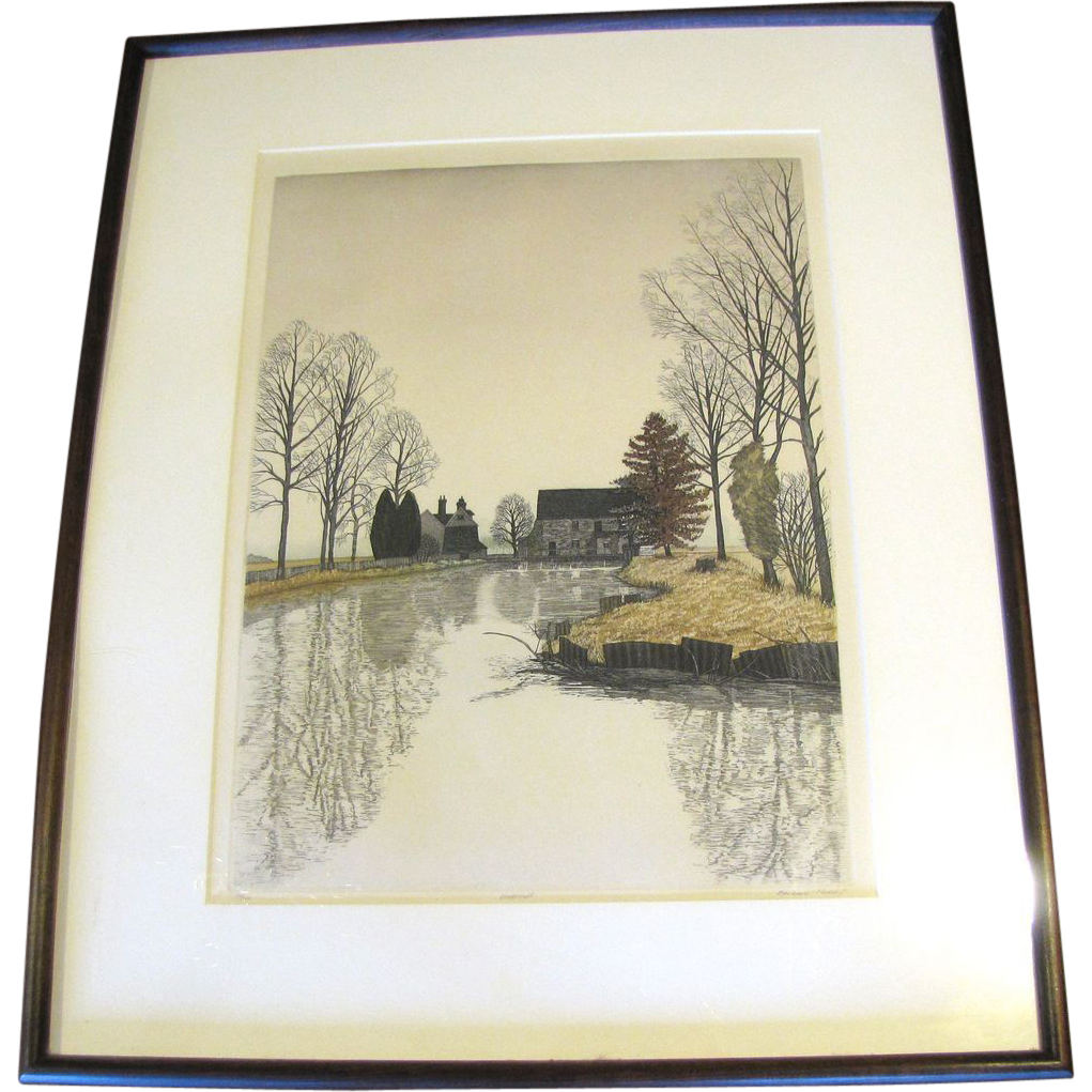 Vintage Large Numbered & Signed Landscape Print WATERMILL Barbara Hunn