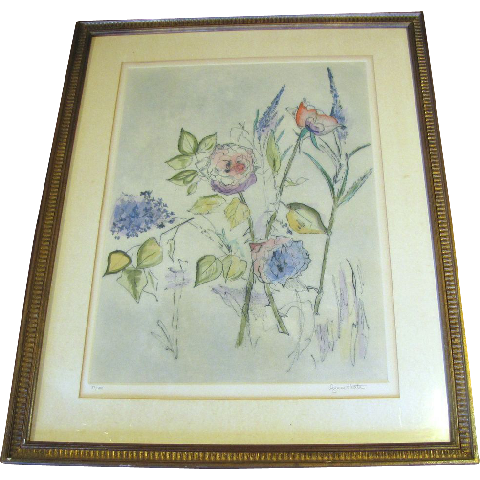 Large Vintage Botanical Watercolor Etching, Grace Hoxter, Listed Artist