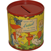 Small Erdal Chocolate Creme Tin Bank, Nursery Rhymes