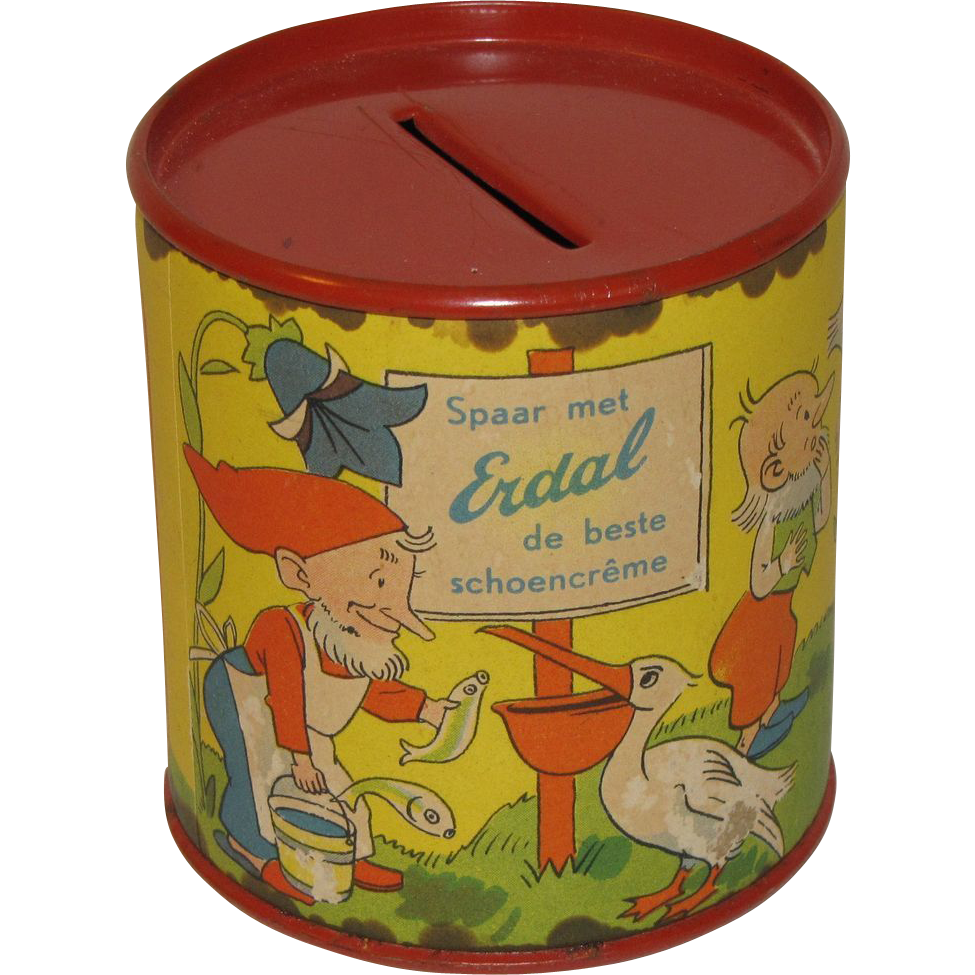 Small Erdal Chocolate Creme Tin Bank, Nursery Rhymes