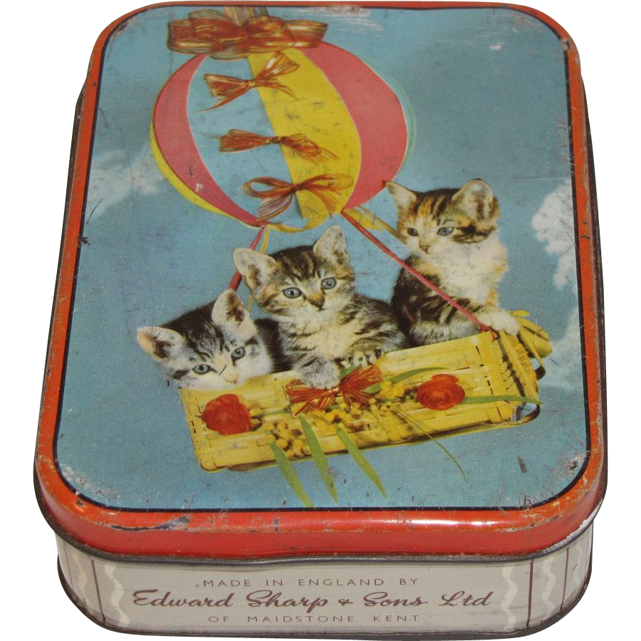 Vintage Sharp's Candy Tin, # Kittens in Basket of Air Balloon