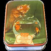 Vintage Toffee Tin, Sharp's Super-Kreem, Kitten and Goldfish Bowl