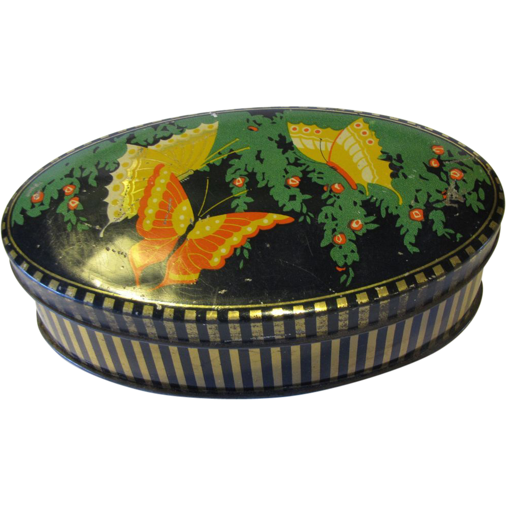 Great Looking Small Chocolate Tin with Butterflies, Sharp's Toffee