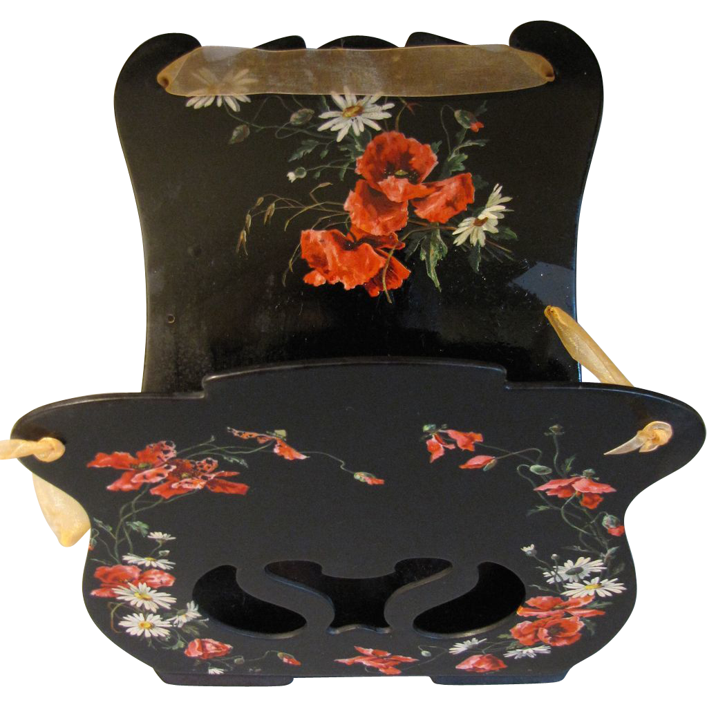 Antique Papier Mache Magazine Wall Rack, Red Poppies and White Daisies