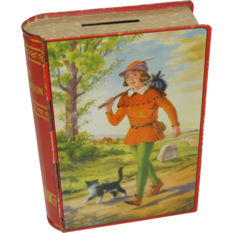 1950's Chad Valley English Book Toffee Tin Bank, DICK WHITTINGTON