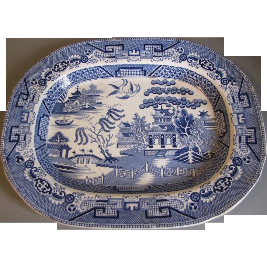 19th Century Blue Willow Platter, Scottish, Traditional Pattern