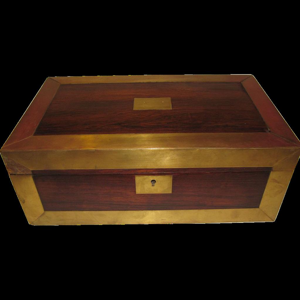 Large Antique Campaign Style Lap Desk, Brass Edges, English